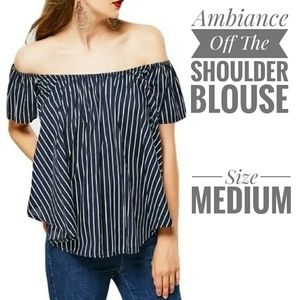 🐞🐞Ambiance stripe off the shoulder blouse